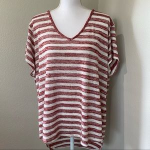 ANA 2X Red White Striped Sheer Textured Top Shirt